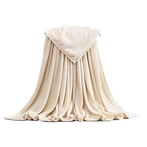 HUOLEO Franela Manta,Ligero Cómodo Mantener Caliente Manta para Cama Microfibra Colcha para Sofá Cama-米白色-100X140cm(39X55in)