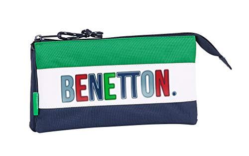 safta 812006744 Estuche portatodo Triple Escolar Benetton, Multicolor
