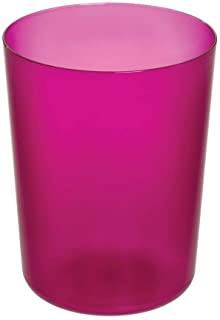 iDesign Finn Round Plastic Trash, Compact Waste Basket Garbage Can for Bathroom, Bedroom, Home Office, Dorm, College, Magenta and White