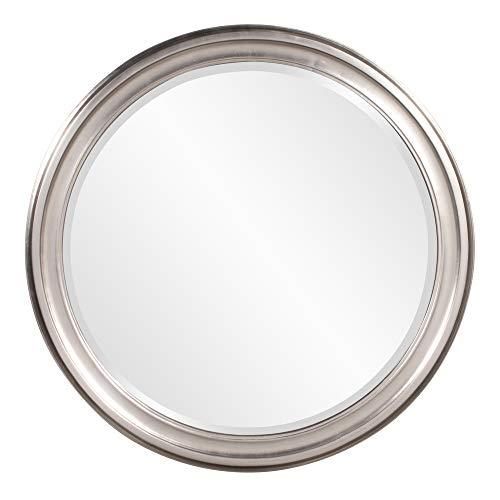 Howard Elliott George Round Wood Framed Wall Vanity Mirror, Bright Silver, 53045