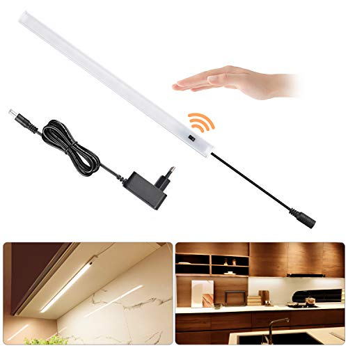 SOAIY LED dimmbar Unterbauleuchte 40cm 5,5W 450lm Schrankleuchte Küchenlampe An-/Ausschalten Dimmen per Handbewegung Lichtleiste Memory-Funktion inkl. 12V Netzteil Montagematerial 3000K Warmweiß