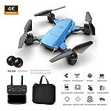 vogueyouth K2 Mini Drone - Drone portable ultraléger avec caméra grand angle, quadricoptère RC pliable à maintien en altitude de longue durée,drone de photographie aérienne HD 4K avec sac de rangement