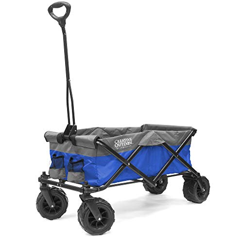Creative Outdoor Distributor 920031 Platinum Series All-Terrain Collapsible Folding Wagon Cart for Kids, Blue