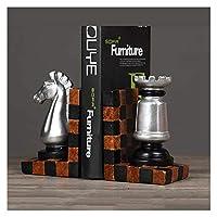 レトロなカメラブードエンドチェスのピースブックエンドヨーロッパスタイルの本を終わらせるクリエイティブブックストッパー本棚の装飾、1ペア (Color : Chess piece A)
