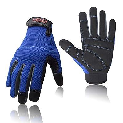 Mens General Utility Light Work Gloves, Mechanic Gloves Touchscreen for Men, Light Duty Safety Work Gloves (Extra Large, Blue)