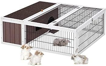 Esright Rabbit Hutch 40'' Rabbit Cage Outdoor Large Wooden Bunny House with Ventilation Door Animal Enclosure, Gray