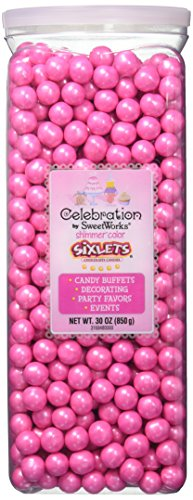 Celebrations By SweetWorks Sixlets(R) 30oz, Shimmer (TM) Bright Pink