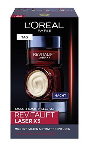 L'Oréal Paris Hyaluronsäure Tag und Nacht Gesichtspflege Geschenkset, Revitalift Laser x3 Anti-Aging Cremes gegen Falten