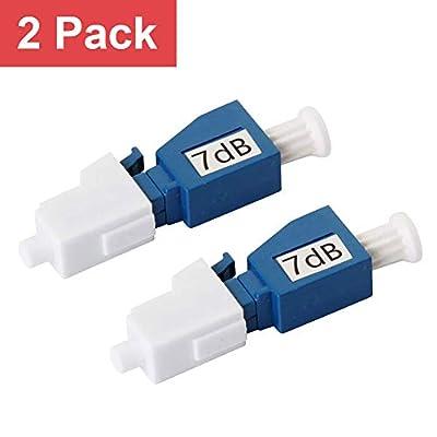 LC/UPC Fiber Optic Attenuator 7dB, in-Line Attenuator, Male/Female, Single-Mode Fixed, dB Options: 3dB, 5dB, 7dB, 10dB, 2 Pack