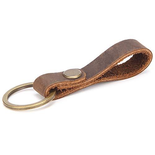 Eleganter Schlüsselanhänger aus Leder mit Ringen Schlüsselband Schlüsselbund Schlüsselhalter Schlüsselring Auto Foto Gravur Ring für Damen & Herren Braun