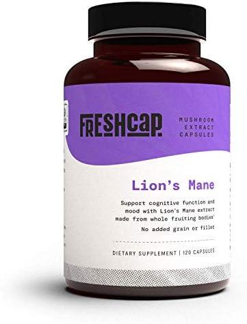 FreshCap Organic Lion s Mane Mushroom Extract Powder Capsules Mental Clarity and Focus Brain product image