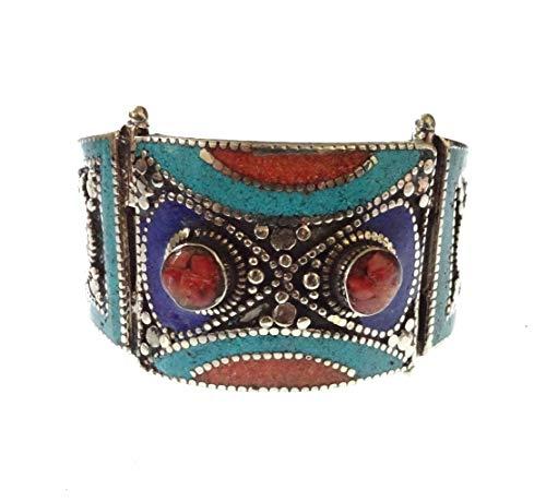 Handgemachte Multi Farbe große Manschette Armband Koralle, Türkis & Lapis Lazuli Edelstein für Frauen Mädchen Männer, Gypsy Tribal Designer Mode Silber vergoldet Armreif tibetischen Armband Schmuck
