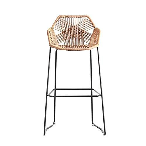 LJKD - Sgabello da bar in rattan, per colazione, cucina, bar, bancone e sedie con schienali, per cucina, ristorante, giardino, altezza 65/75 cm, singolo, 75 cm