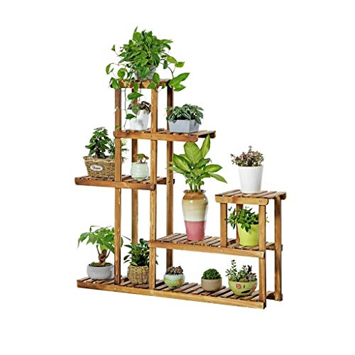 WYJW Bloemenstandaard Plantenplanken met verschillende niveaus Grote houten standaard Stapeldisplay voor bloempotten Tuin van planten Plank voor binnen of buiten woonkamer Woonkamer Decoratief
