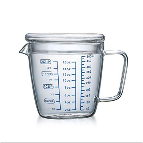 cakunmik Taza del Mezclador, Taza de medición de Vidrio con Tapa de la Tapa de la Taza de medición de la Taza de la Resina epoxi de la Mezcla de la Copa para la Cocina,500ml