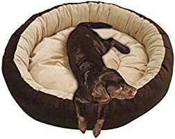 Mellifluous Reversible Super Soft Velvet Round Cat Dog Pet Bed Diameter 61 cms Height 15 cms S (Small, Brown Cream)