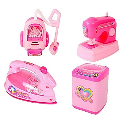 AKSHARAM AHAM Battery Operated Set of 4 Pieces Household Home Appliances Kitchen Play Sets Toys for Girls with Realistic Sound   Washing Machine , Sewing Machine, Vacuum Cleaner & Iron   