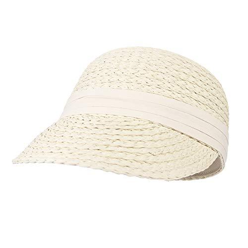 EOZY-Gorra de Béisbol para Bebe Niña Verano,Sombrero de Paja Anti-UV Sombreros Gorras de Sol Visera Sombrero Bebé Outdoor,Beige