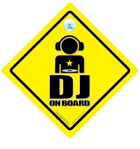 DJ on Board Schild, DJ, DJ DJ on Board Schild, Autoaufkleber, Disc Jockey, Aufkleber, Car Sticker, MC, Rap; Hip Hop, Lustige Auto-Aufkleber Baby on Graphic Board Schild, Auto-Aufkleber
