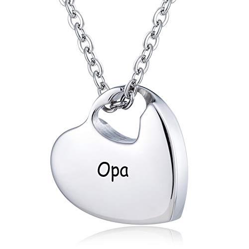 Daesar Edelstahl Asche Kette mit Anhänger Herz mit Gravur Opa Urnen Anhänger Herz Halskette Silber Memorial Halskette