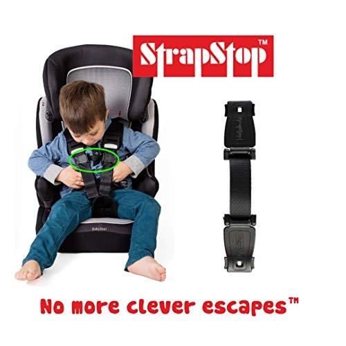 StrapStop - Cinturino di sicurezza multiuso - Seggiolini auto/Carrozzine e Passeggini/Zaini - In conformità con lo standard di sicurezza europeo - Nero