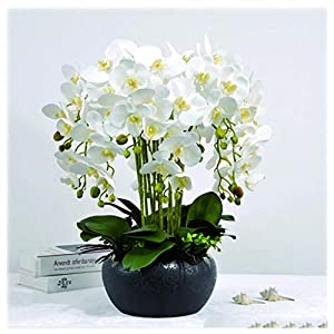 NYKK Decoration Artificial Flowers Artificial Phalaenopsis Silk Flower Used to Place The Living Room Corridor,with Flower Pot(Purple) Table Centrepieces