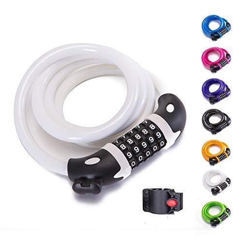 Bike Lock Bicycle Lock Chain ,5-Digit Combination Lock Core Steel Wire Bike Lock Security&Portable Bicycle Locks,4 Feet x 1/2 inch (White)