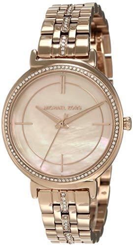 Michael Kors analoog kwartshorloge voor dames, roze goud, Eén maat, armband