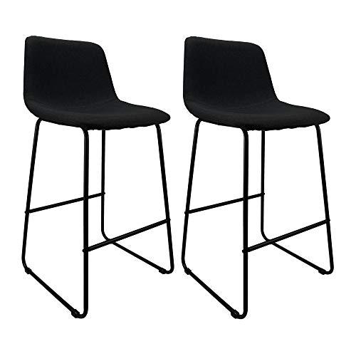 Cepewa Barhocker 2er Set, Barstuhl mit robustem Stoffbezug und stabilem Metallgestell, Küchenstuhl Barstuhl mit Rückenlehne und Fußstütze (schwarz)