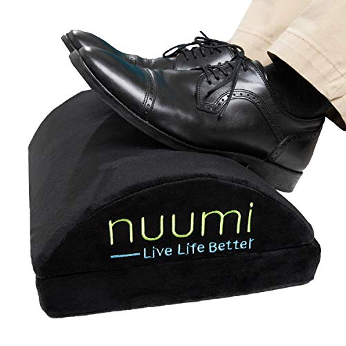 Nuumi Foot Rest for Under Desk at Work, Home or Travel. Ergonomic Foam Foot Pillow with Rocker Function to Improve Circulation. Adjustable for Added Height. Easy Clean Machine Washable Cover