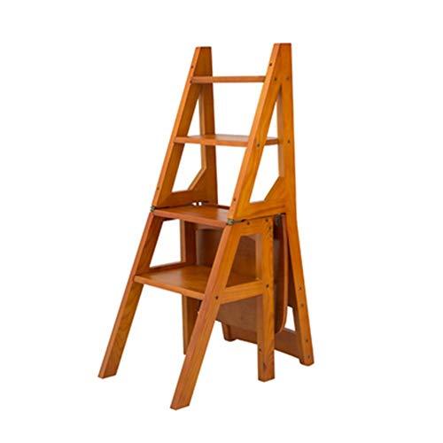 ZSPSHOP Vouwtrap Ladder Stoel - Houten Opvouwbare Ladder Kruk Plank - Bibliotheek Stappen Boekenplank Plant Stand Voor Opslag En Decoratie