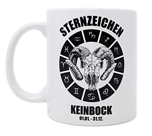 Close Up Sternzeichen KEINBOCK - 01.01. - 31.12 - Tasse - Lustige Premium Kaffeetasse, Becher weiß