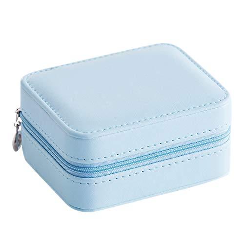 Katigan Caja de JoyeríA PortáTil de Viaje Pendientes de JoyeríA Pendientes Caja de Almacenamiento con Anillo de Espejo Pulsera Collar PequeeO Joyero Azul
