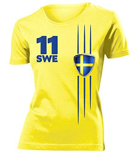 Schweden Sverige Sweden Fanshirt Fussball Fußball Trikot Look Jersey Damen Frauen t Shirt Tshirt t-Shirt Fan Fanartikel Outfit Bekleidung Oberteil Hemd Artikel