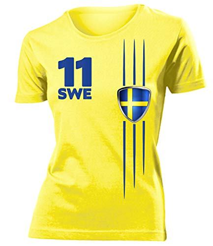 Schweden Sverige Sweden Fan t Shirt Artikel 3297 Fuss Ball World Cup Jersey EM 2020 WM 2022 Trikot Look Flagge Fahne Team Frauen Damen Mädchen M