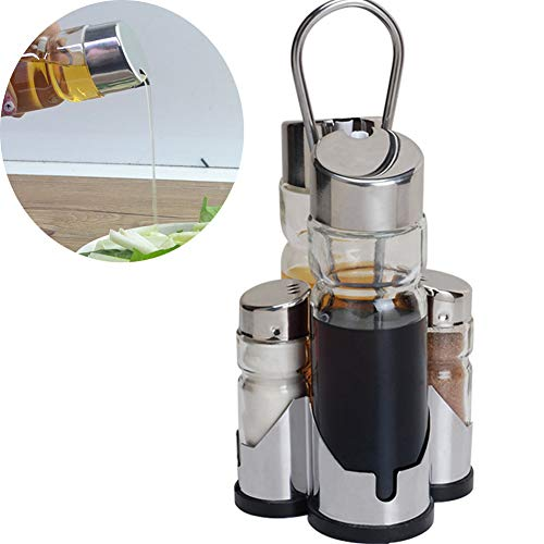 YCKZZR Olive Oil Dispenser-4 Pack Oil Vinegar Dispenser Set Transparent Glass Material Suitable for All Kinds of Liquid Seasonings Large Bottle 170Ml Vial 40Ml