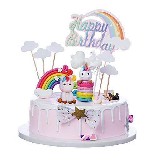 Vanvene Reusable Colorful Rainbow Unicorn Cake Topper Set for Unicorn Party Supplies,Rainbow Unicorn Cake Decorations for Girls,Birthday party, Wedding & Baby Shower