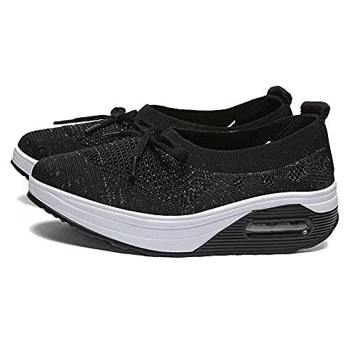TIK Tok Newly Upgraded Women s Orthopedic Diabetic Walking Shoes, Platform Bow Knots Casual Height Increase Travel Outdoor Shoes (Black,36)