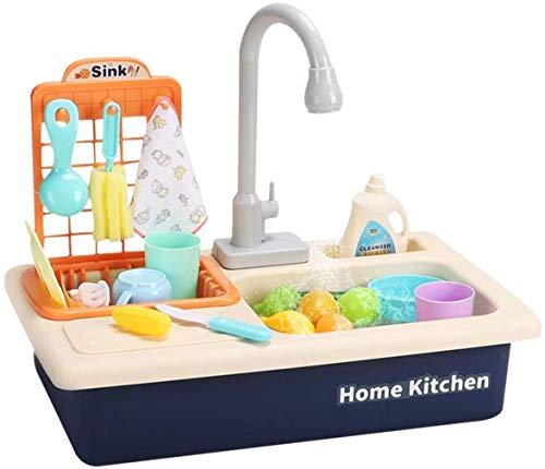 Ulalaza 22 PCS Kids Kitchen Sink Toys Geschirrspüler Spielzeug mit fließendem Wasser Spielen Automatische Wasserhähne Haus Rollenspielzeug vortäuschen