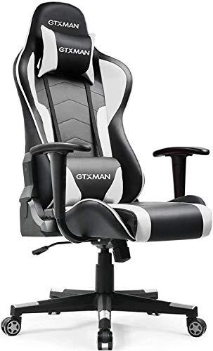 GTXMAN ゲーミングチェア オフィスチェア リクライニング ハイバック レザー 肘掛付き デスクチェア パソコンチェア ゲーム用 椅子 X188【二年保証】 (188-ホワイト)