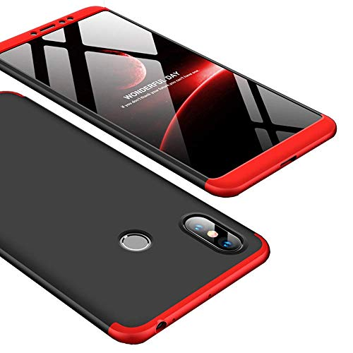 """Kit Capa Capinha Anti Impacto 360 Para Xiaomi Mi Max 3 De Tela 6.9"""" - Case Acrílica Fosca E Acabamento Macio Com Película De Vidro Temperado - Danet (Preto com vermelho)"""