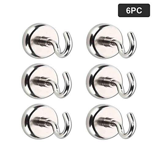 Magnet Haken,Magnete mit Haken, Magnethaken,Super Starker Neodym Magnetischer Haken Einsatzbereich Küche Badezimmer Schlafzimmer Garage Schließfächer Büro Kühlschrankmagnet Schlüsselhalter (16mm 6pc)