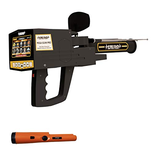 Mega Detection Mega Scan Pro 2020 Long Range Metal Detector and Locator | Professional Deep Seeking Treasure Finder | 3 Search Systems - with Free Pin Pointer