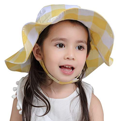 Kinder Schirmmütze Mädchen Sonnenmütze Baby Sonnenhut Hüte Bindebändern Krempe Babymütze Baumwollhut Kappe Mütze-B-3-4 Jahre Alt(50-52cm)