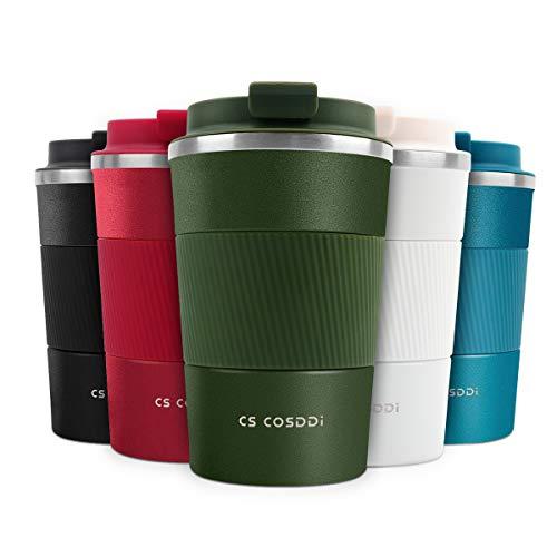 CS COSDDI Thermobecher- Isolierbecher, Edelstahl Travel Mug,13oz/380ml Vakuum auslaufsicher Reisebecher mit Deckel, Autobecher, doppelwandig isoliert für Kaffee, Wasser, Kaffee-to-go Becher (Green-A)