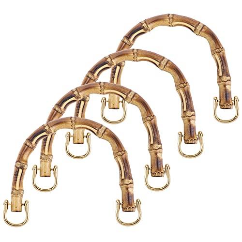ANSUG 4 asas de bambú para bolsos, asas para bolsos de ganchillo, asas para bolsos DIY asas para bolso de mano (forma de U)