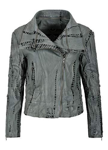 Damen Croc Print Lederjacke Grau Krokodil plattiert Retro Fashion Jacke 5062 (EU 44)
