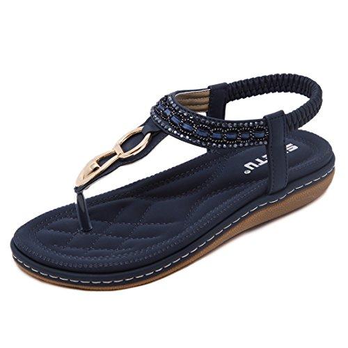 Sandalen Frauen Bequeme Flip-Flops Bohemia Sommer Bequeme Schuhe Flach Mädchen , Blau, EU: 39 (Herstellergröße: CN 40)