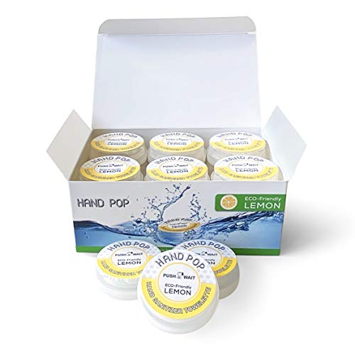 Hand Pop, Hand Wipes, Lemon Scent, 24 Single Use Wet Wipes Towelette, Alcohol Free Hand Wipes, Super Convenient Application, Hand Wipes Travel Size.
