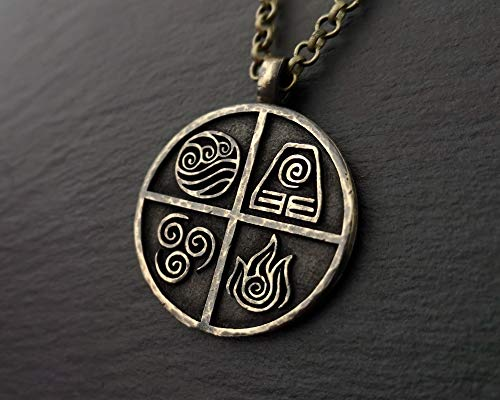 Avatar Last Airbender Earth Fire Water Air Element Set Necklace Pendant Jewelry